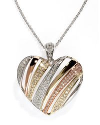 Effy | Metallic Diamond, 14k White, Rose And Yellow Gold Heart Pendant | Lyst