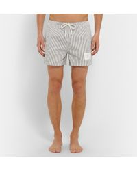 5d83b276ac Thom Browne Striped Seersucker Mid-Length Swim Shorts in Blue for ...