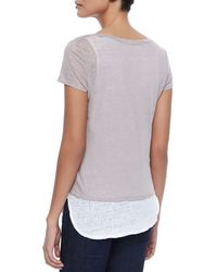 Neiman Marcus - Gray Linen Double-layer Short-sleeve Tee - Lyst