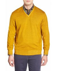 Robert Talbott | Orange 'aptos' V-neck Merino Wool Sweater for Men | Lyst