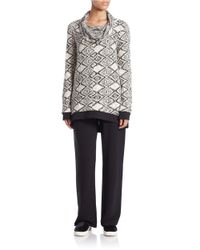 Lord & Taylor Multicolor Patterned Cowl-neck Pullover