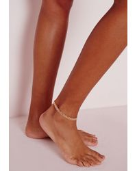 Missguided - Metallic Delicate Ankle Chain Gold - Lyst