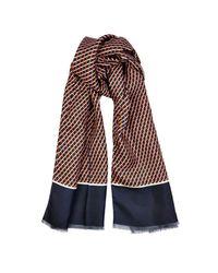 Façonnable - Red Diamond-Print Silk Scarf for Men - Lyst