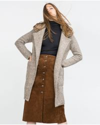 Zara | Natural Coat With Large Lapel | Lyst