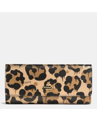 COACH | Multicolor Soft Wallet In Wild Beast Print Leather | Lyst