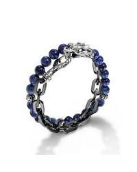 John Hardy - Black Stainless Steel Double Wrap Link Bracelet for Men - Lyst