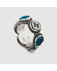 Gucci | Blue Ring With Swarovski Crystals | Lyst