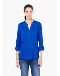 Mango - Blue Chest-pocket Cotton Blouse - Lyst