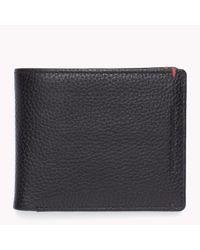 Tommy Hilfiger | Black Pebbled Leather Credit Card Holder for Men | Lyst