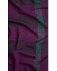 Burberry | Purple Check Wool Square | Lyst