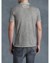John Varvatos | Gray Soft Collar Peace Polo for Men | Lyst