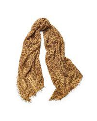 Ralph Lauren | Natural Leopard-print Wool-blend Scarf | Lyst