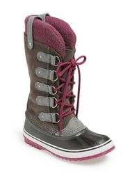 Sorel | Gray 'joan Of Arctic - Knit' Waterproof Boot | Lyst