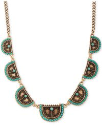 Lucky Brand | Metallic Gold-tone Turquoise Shield Collar Necklace | Lyst