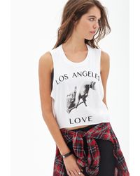 Forever 21 - White La Love Muscle Tee - Lyst