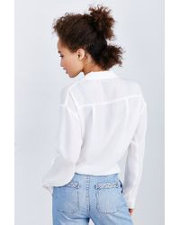 Lucca Couture - White Surplice Side-tie Blouse - Lyst