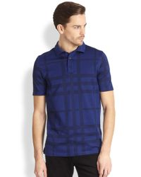 Burberry - Blue Auden Check Polo Shirt for Men - Lyst