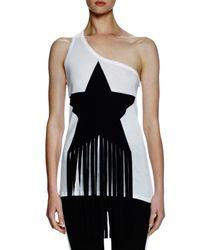 Stella McCartney White One-shoulder Star-patch Top W/fringe