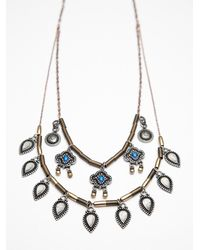 Free People - Blue Long Coin Layering Necklace - Lyst