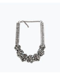 Zara | Metallic Shiny Stone Necklace | Lyst