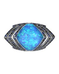 Stephen Webster Blue Lady Stardust Opalescent Quartz & Black Diamond Ring