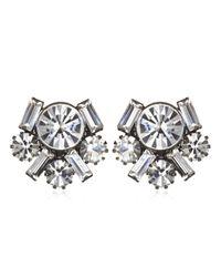 Elizabeth Cole | Metallic Tiffany and Baguette Cluster Earrings | Lyst