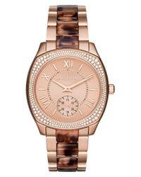 MICHAEL Michael Kors | Metallic Michael Kors 'bryn' Crystal Bezel Bracelet Watch | Lyst