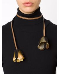 Marni - Brown Flower Pendant Lace Necklace - Lyst