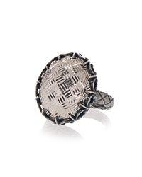 Bottega Veneta - Metallic Oxidised-silver Intrecciato Ring - Lyst