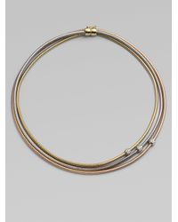 Roberto Coin - Metallic Diamond Accented 18k Gold Tri-tone Multi-row Snake Chain Necklace - Lyst