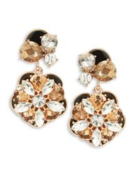 kate spade new york | Black Fame And Flowers Drop Earrings | Lyst