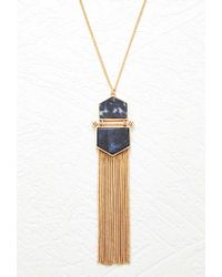Forever 21 - Blue Tassel Faux Stone Necklace - Lyst