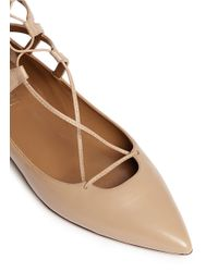 Aquazzura - Natural 'belgravia' Caged Leather Flats - Lyst