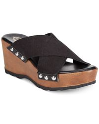 Callisto Black Codye Platform Slide Sandals