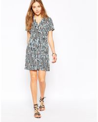 Vero Moda | Blue Printed Wrap Front Shirt Dress | Lyst