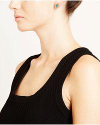 Dezso by Sara Beltran Blue 18k Rose Gold Opal & Diamond Shark Fin Earrings
