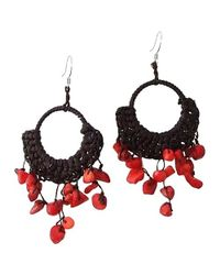 Aeravida | Red Coral Chandelier Hoop Dangle 925 Silver Earrings | Lyst