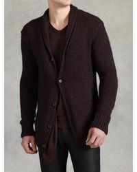 John Varvatos | Purple Hand Knit Cardigan for Men | Lyst