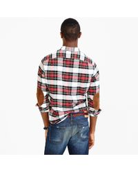 J.Crew Red Cotton-wool Elbow-patch Shirt In Stewart Plaid for men