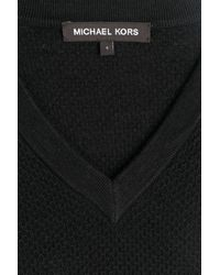 Michael Kors | Linen-cotton V-neck Pullover - Black for Men | Lyst