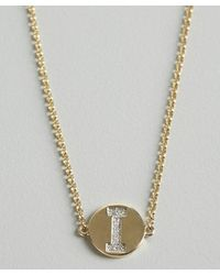 KC Designs | Metallic Gold And Diamond 'i' Initial Pendant Bracelet | Lyst