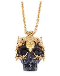 Alexander McQueen - Black Silver Leaf Skull Pendant Necklace - Lyst