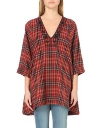 Free People Red Sammy Jo Checked Tunic Top