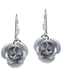 Aeravida | Metallic Blooming Silver Rose .925 Silver Dangle Earrings | Lyst