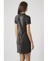 TOPSHOP Black Online Exclusive Glitter High Neck Bodycon Dress