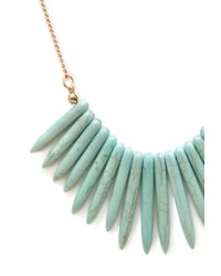 Forever 21 - Blue Faux Stone Fringe Necklace - Lyst