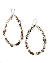 Alexis Bittar Fine | Metallic Smoky Quartz & Diamond Oval Cluster Hoop Earrings | Lyst