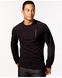 Sean John | Black Textured And Pieced Moto Shirt for Men | Lyst