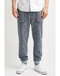 Forever 21 | Blue Marled Varsity-stripe Sweatpants for Men | Lyst