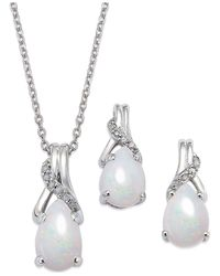Macy's | Metallic Opal (1-3/8 Ct. T.w.) And Diamond Accent Jewelry Set In Sterling Silver | Lyst